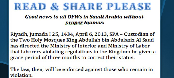 NGO welcomes Saudi King's intervention to suspend crackdown; calls on PH government to augment embassy personnel and resources for Saudi Arabia