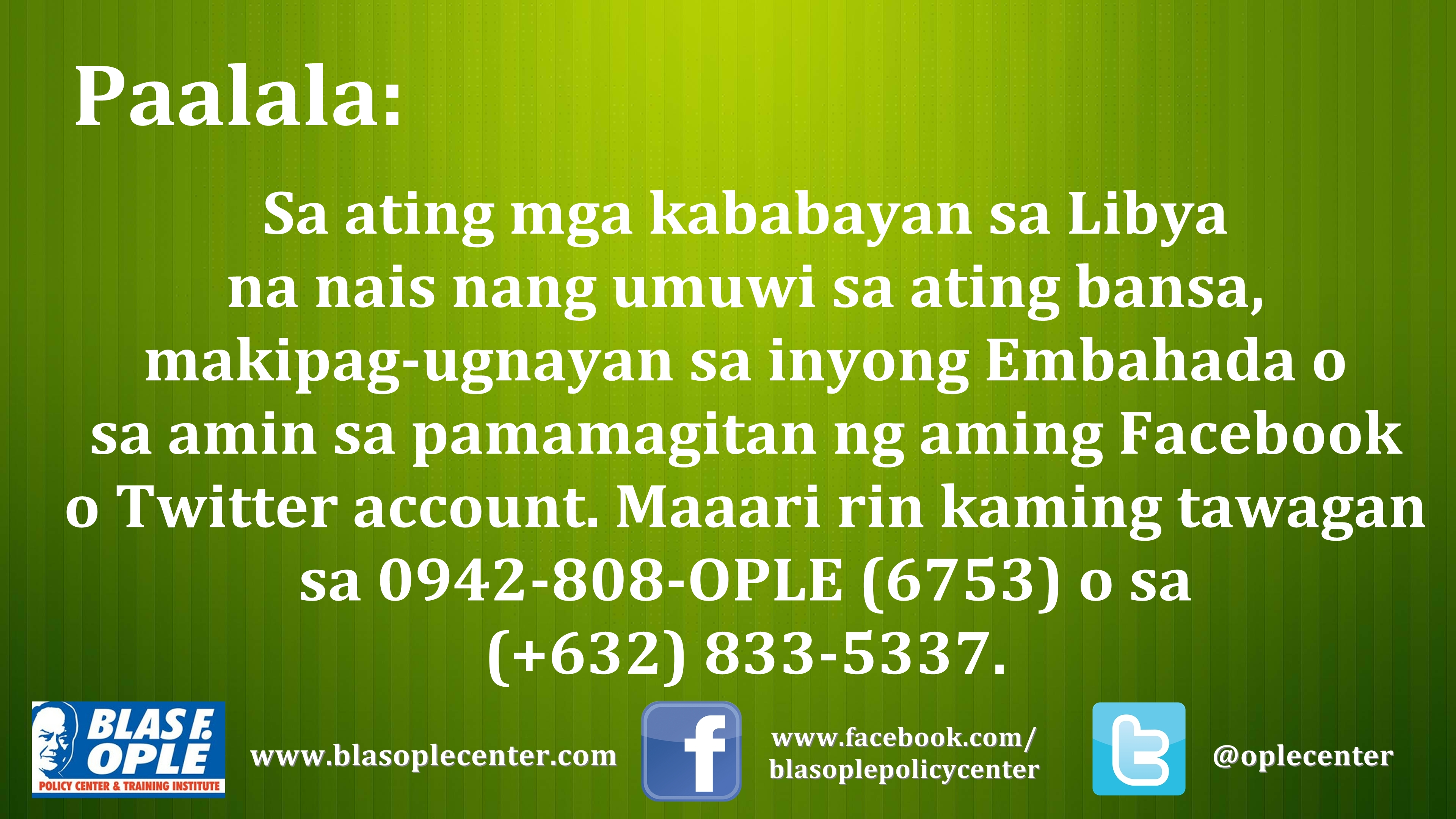 A Call to Our OFWs in Libya