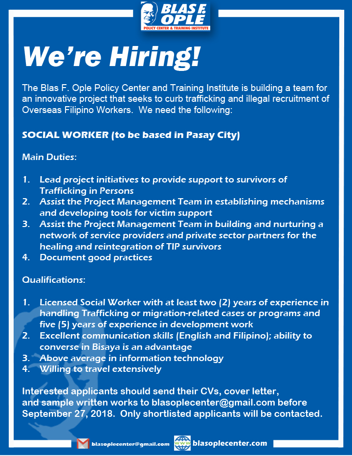 We're Hiring! – Blas F  Ople Policy Center & Training Institute